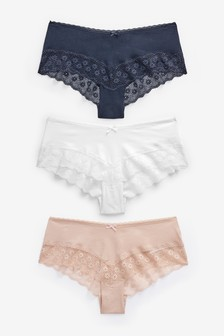 Navy/Pink/White Cotton Rich Lace Hipsters Three Pack