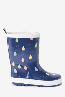 Navy Colour Changing Raindrop Wellies (Older)