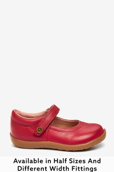 Red Leather Wide Fit (G) Little Luxe™ Mary Jane Shoes (Younger)