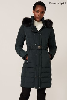 Phase Eight Green Leona Double Breasted Long Padded Jacket