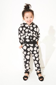 Black & White Spot Hoody Soft Touch Jersey (3mths-7yrs)