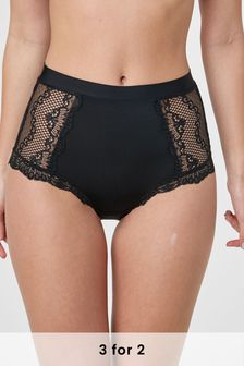 Black High Rise Microfibre And Lace Knickers