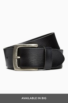 Black Creased Effect Leather Belt
