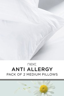 Set of 2 Medium Anti Allergy And Anti Bacterial Pillows
