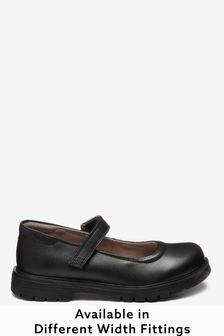 Black Standard Fit (F) Leather Chunky Mary Jane Shoes