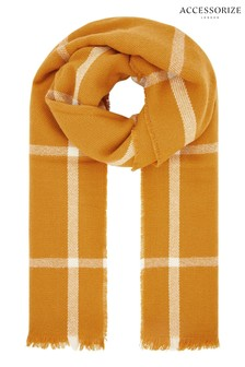 Accessorize Orange Sunny Window Pane Check Blanket Scarf