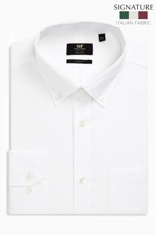 White Slim Fit Single Cuff Signature Nova Fides Linen Shirt