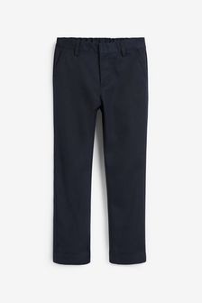 Navy Regular Waist Flat Front Trousers (3-17yrs)