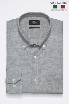 Grey Slim Fit Single Cuff Signature Nova Fides Linen Shirt