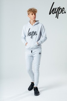 Hype. Light Grey Script Kids Hoody & Jogger Set