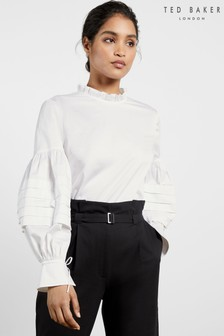 Ted Baker White Jaicce Blouson Sleeve Ruffle Neck Cotton Top