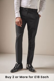 Black Slim Fit Machine Washable Plain Front Trousers