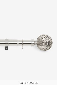 Brushed Silver Extendable Oriana 35mm Curtain Pole Kit