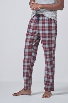 Plum/Grey Check Cosy Pyjama Bottoms