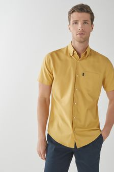 Yellow Regular Fit Short Sleeve Easy Iron Button Down Oxford Shirt
