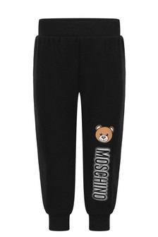 Baby Black Cotton Logo Print Joggers
