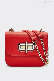 Tommy Hilfiger Red Leather Turnlock Mini Crossover Bag