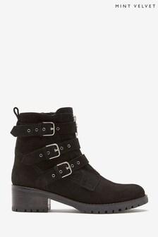 Mint Velvet Logan Black Zip Biker Boots