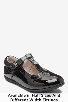 Black Patent Standard Fit (F) Leather T-Bar Leather Shoes