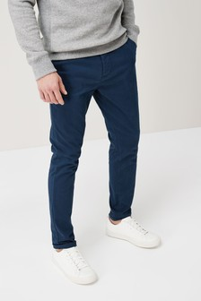 Dark Blue Skinny Fit Stretch Chinos