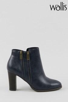 Wallis Asuma Navy Double Zip Ankle Boots