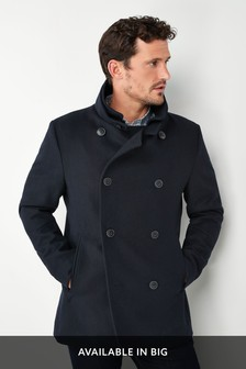 7bfab3d5854f1 Navy Wool Rich Double Breasted Jacket ...