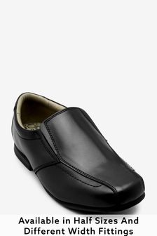 Black Wide Fit (G) Leather Formal Loafers