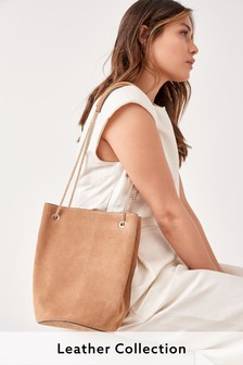 Tan Suede Vintage Chain Bucket Bag