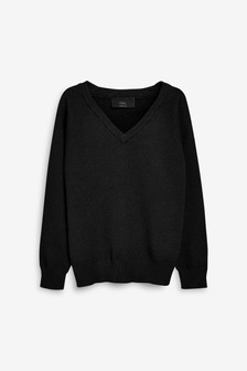 Black Knitted V-Neck Jumper (3-18yrs)