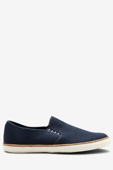 Navy Canvas Jute Slip-Ons