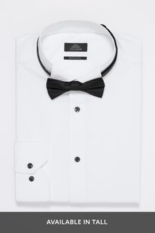 White Regular Fit Single Cuff Wing Collar Shirt And Black Bow Tie Set