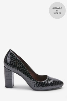 Black Croc Effect Almond Toe Block Heel Court Shoes