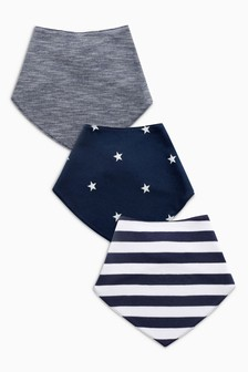 Navy/White 3 Pack Stripe/Star Print Dribble Bibs