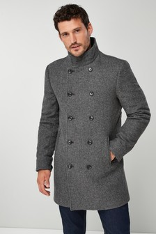 15ca767a63 Grey Double Breasted Funnel Neck Coat