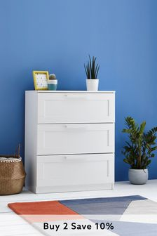 White Flynn 3 Drawer Chest