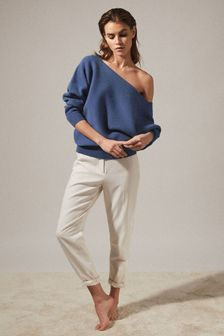 Reiss Blue Amy Asymmetric Knitted Top