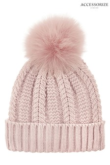 Accessorize Pink Luxe Pom Beanie