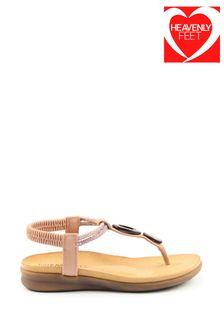 Heavenly Feet Pink Ladies Premium Toe-Post Sandals