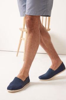 Navy Canvas A-Line Slip-Ons
