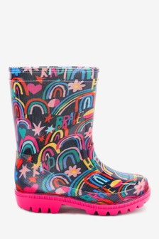 Navy Rainbow Doodle Wellies (Younger)