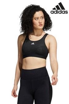 adidas Black Believe This Lace Camo Medium Support Sports Bra