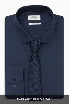 Navy Regular Fit Single Cuff Cotton Tonic Shirt And Tie Set