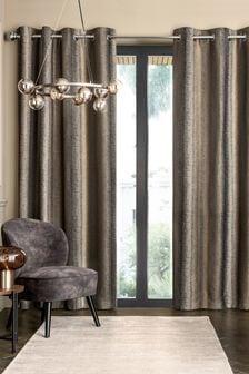 Metallic Stripe Eyelet Lined Curtains