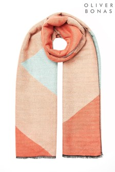 Oliver Bonas Colour Block Orange & Blue Scarf