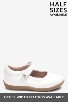 White Leather Wide Fit (G) Little Luxe™ Mary Jane Shoes (Younger)