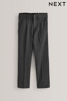Grey Slim Waist Pleat Front Trousers (3-16yrs)