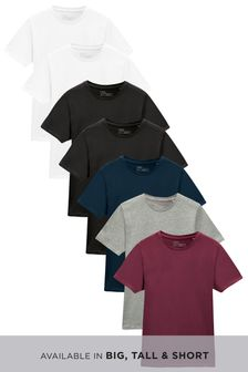 Burgundy Mix Regular Fit Crew Neck T-Shirts Seven Pack