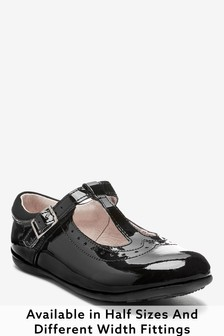 Black Patent Wide Fit (G) Leather T-Bar Leather Shoes