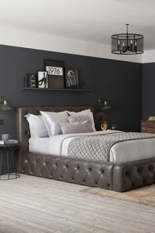 Monza Faux Leather Dark Brown Harper Buttoned Bed