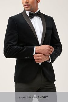 Black Slim Fit Velvet Shawl Collar Tuxedo Jacket